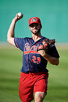 Peoria Chiefs pitcher Ben Yokley (29) warms up before a game against the Bowling Green Hot Rods on September 15, 2018 at Bowling Green Ballpark in Bowling Green, Kentucky.  Bowling Green defeated Peoria 6-1.  (Mike Janes/Four Seam Images)