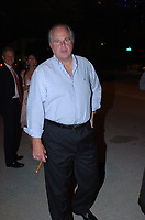 """**FILE PHOTO** Rush Limbaugh Has Passed Away.<br /> <br /> MIAMI BEACH, FL - APRIL 16: Miami's Queen of Drag,""""Housewives"""" Star Elaine Lancaster (real name James Davis) giving Rush Limbaugh a kiss . Rush Hudson Limbaugh III is an American radio talk show host and conservative political commentator. He currently resides in Palm Beach, Florida, where he broadcasts The Rush Limbaugh Show on April 16, 2004 in Miami Beach, Florida<br /> CAP/MPI122<br /> ©MPI122/Capital Pictures"""