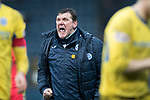 Dundee v St Johnstone…10.03.18…  Dens Park    SPFL<br />A delighted Tommy Wright celebrates with the saints fans at full time<br />Picture by Graeme Hart. <br />Copyright Perthshire Picture Agency<br />Tel: 01738 623350  Mobile: 07990 594431