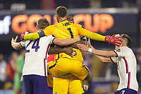 LAS VEGAS, NV - AUGUST 1: Matt Turner #1 of the United States celebrates scoring with teammates including Henry Kessler #24, and Sam Vines #3 after a game between Mexico and USMNT at Allegiant Stadium on August 1, 2021 in Las Vegas, Nevada.