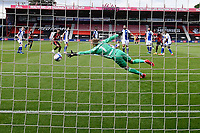 The shot from Jack Stacey of Bournemouth beats Blackburn Rovers keeper Thomas Kaminski  for the first goal during AFC Bournemouth vs Blackburn Rovers, Sky Bet EFL Championship Football at the Vitality Stadium on 12th September 2020
