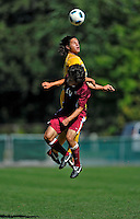 18 September 2011: University of Vermont Catamount Defender Sean Sweeney, a Junior from Cromwell, CT, goes up against Midfielder/Forward Ben Tsuda, a Senior from Shrewsbury, MA of the Harvard University Crimson at Centennial Field in Burlington, Vermont. The Catamounts shut out the visiting Crimson 1-0, earning their 3rd straight victory of the 2011 season. Mandatory Credit: Ed Wolfstein Photo