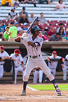 Kane County Cougars shortstop Manny Jefferson (5) at bat during game one of a Midwest League doubleheader against the Wisconsin Timber Rattlers on June 23, 2017 at Fox Cities Stadium in Appleton, Wisconsin.  Kane County defeated Wisconsin 4-3. (Brad Krause/Four Seam Images)