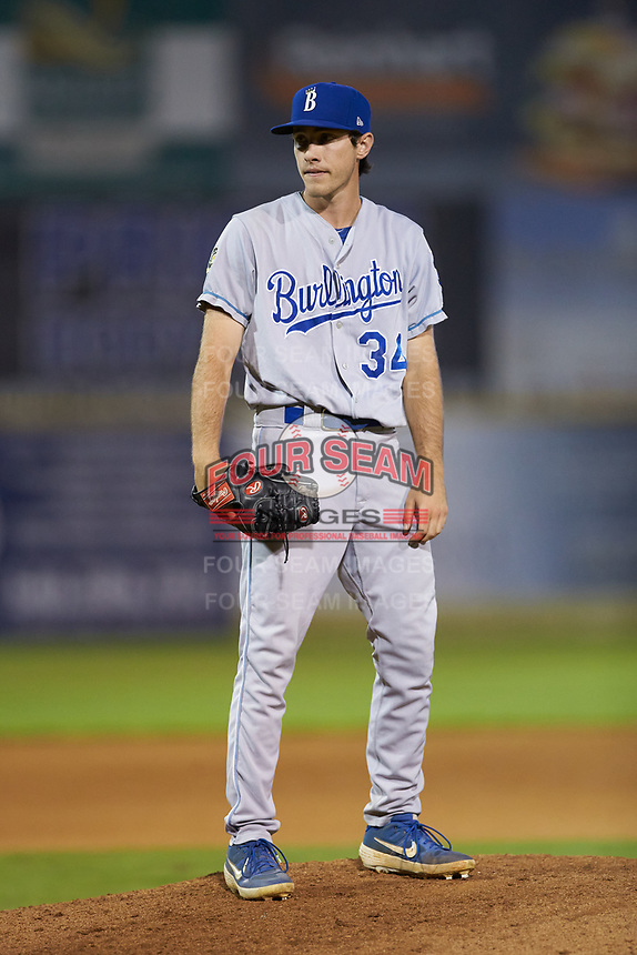 Burlington Royals relief pitcher Zack Phillips (34) looks to his catcher for the sign against the Pulaski Yankees at Calfee Park on August 31, 2019 in Pulaski, Virginia. The Yankees defeated the Royals 6-0. (Brian Westerholt/Four Seam Images)