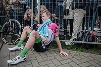 G Lawson Craddock (USA/Cannondale Drapac) exhausted and comforted after being in the breakaway all day.<br /> <br /> 53th Amstel Gold Race (1.UWT)<br /> 1 Day Race: Maastricht > Berg en Terblijt (263km)