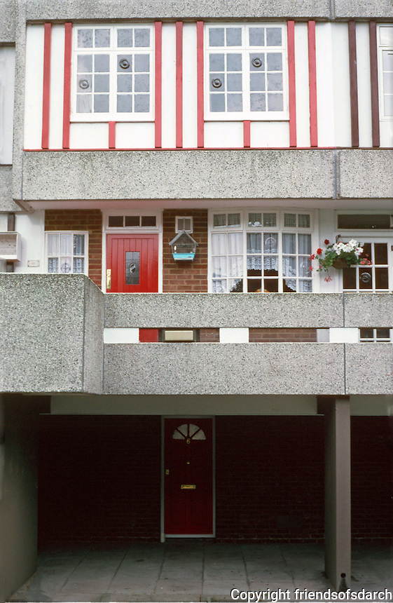 London:  Thameshead, 1972--GLC Architects Dept.  Homey fised-up Tudor flat overlooking court off  Portmeadow Walk.  Photo '90.
