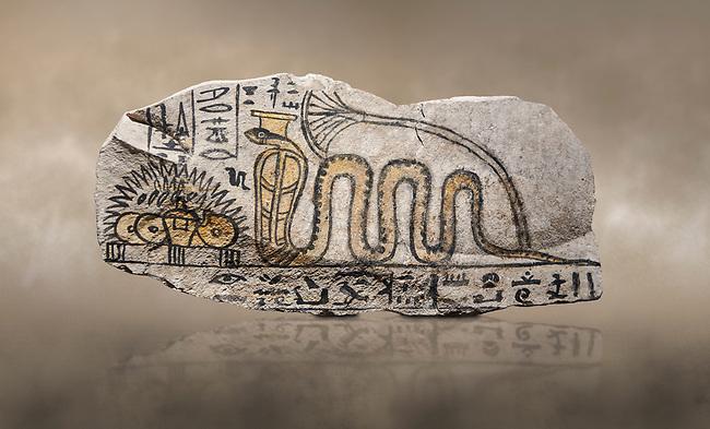 Ancient Egyptian ostracon dedicated by Amenkhau to Mereteseger, limestone, New Kingdom, 20th Dynasty, (1187-1150 BC), Deir el-Medina, ODrovetti cat 1564. Egyptian Museum, Turin.