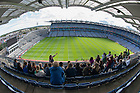 Aug 12, 2014; Students tour Croke Park in Dublin, Ireland. 82 Notre Dame students participated in the Summer 2014 Ireland Inside Track program.  The 8-day program involved cultural excursions, tours and travel between Dublin and the West of Ireland. Students learned about Ireland's rich culture, complex history and contemporary business such and Google and Twitter.  (Photo by Barbara Johnston/University of Notre Dame)