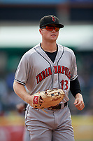 Indianapolis Indians center fielder Austin Meadows (13) jogs to the dugout during a game against the Buffalo Bisons on August 17, 2017 at Coca-Cola Field in Buffalo, New York.  Buffalo defeated Indianapolis 4-1.  (Mike Janes/Four Seam Images)