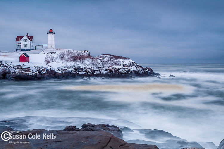 A winter storm at Cape Neddick (Nubble) Light in York, Maine, USA