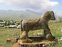 Armenia 2007 <br /> Statue of an horse in a Yezidi graveyard   <br /> Armenie 2007  <br /> Statue de cheval dans un cimetiere Yezidi