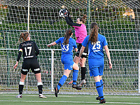 Goalkeeper Silke Baccarne (1) of Eendracht Aalst  does a save during a female soccer game between  Racing Genk Ladies and Eendracht Aalst on the 5 th matchday of play off 2 in the 2020 - 2021 season of Belgian Scooore Womens Super League , friday 7 th of May 2021  in Genk , Belgium . PHOTO SPORTPIX.BE | SPP | JILL DELSAUX