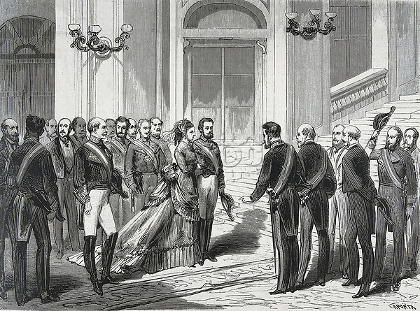Spain (1871). The king Amadeo I of Savoy and the queen María Victoria entering into the palace (Madrid, 19th March 1871). Publ