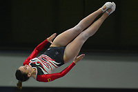 BARRANQUILLA - COLOMBIA, 02-08-2018: Alida Rojo (Venezuela) durante  su presentación en la categoría ginmasia trampolín femenino individual como parte de los Juegos Centroamericanos y del Caribe Barranquilla 2018. /  Alida Rojo (Venezuela) during her participation in women's trampoline gymnastics individual category as part of the Central American and Caribbean Sports Games Barranquilla 2018. Photo: VizzorImage / Alfonso Cervantes / Cont
