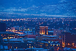 Missoula Valley photographed after dark with the buildings of the downtown area in the foreground