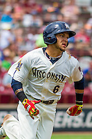 Wisconsin Timber Rattlers second baseman Isan Diaz (6) runs to first base during a Midwest League game against the Lake County Captains on July 24, 2016 at Fox Cities Stadium in Appleton, Wisconsin. Lake County defeated Wisconsin 6-2. (Brad Krause/Four Seam Images)
