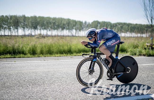 Jasper Philipsen (BEL/Alpecin-Fenix)<br /> <br /> 91st Baloise Belgium Tour 2021 (BEL/2.Pro)<br /> Stage 2 (ITT) from Knokke-Heist to Knokke-Heist (11.2km)<br /> <br /> ©kramon