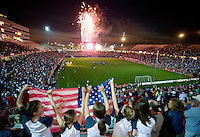 USA fans watch the post game fireworks after a USA 1-0 win over Latvia in Hartford, Ct, Sunday, May 28th, 2006.