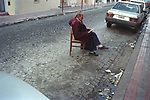 Parking problems a man keep a space Buenos Aires Argentina  South America 2000s 2002