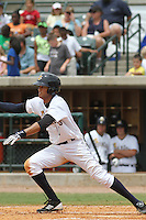 Charleston Riverdogs center fielder Mason Williams #9 at bat during a game against the Savannah Sand Gnats at Joseph P. Riley Jr. Park on May 16, 2012 in Charleston, South Carolina. Charleston defeated Savannah by the score of 14-5. (Robert Gurganus/Four Seam Images)