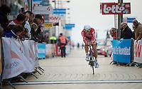 Jonas Van Genechten (BEL) finishing<br /> <br /> 3 Days of West-Flanders 2014<br /> day 1: TT/prologue Middelkerke 7,0 km