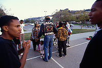 LOS ANGELES, CA - Former Cleveland Browns great Jim Brown hangs out with former gang members in Los Angeles, California in 1991. Photo by Brad Mangin