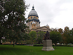 """ILLINOIS STATE CAPITAL BUILDING<br /> houses the executive and legislative branches of the government of the state of Illinois. In 1818, the current building became the sixth capitol of the state since its admission to the United States in 1818. <br /> <br /> The capital dome is covered in zinc to provide a silvery facade which does not weather.<br /> <br /> Illinois is nicknamed """"The Prairie State""""<br /> <br /> Motto: State sovereignty, national union. <br /> <br /> Nickname: The Land of Lincoln"""