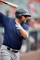 Pawtucket Red Sox first baseman Adam Lind (30) on deck during a game against the Buffalo Bisons on June 28, 2018 at Coca-Cola Field in Buffalo, New York.  Buffalo defeated Pawtucket 8-1.  (Mike Janes/Four Seam Images)