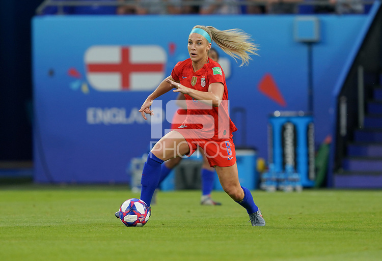 DECINES-CHARPIEU, FRANCE - JULY 02: Julie Ertz #8 during a 2019 FIFA Women's World Cup France Semi-Final match between England and the United States at Groupama Stadium on July 02, 2019 in Decines-Charpieu, France.