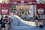 Megan Guarnier (USA) Boels Dolmans Cycling Team wins the inaugural 2015 Strade Bianche Women Elite cycle race 103km over the white gravel roads from San Gimignano to Siena, Tuscany, Italy. 8th March 2015<br /> Photo: ANSA/Fabio Di Pietro/www.newsfile.ie