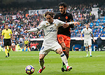 Luka Modric (l) of Real Madrid competes for the ball with Daniel Parejo Munoz of Valencia CF during their La Liga match between Real Madrid and Valencia CF at the Santiago Bernabeu Stadium on 29 April 2017 in Madrid, Spain. Photo by Diego Gonzalez Souto / Power Sport Images