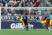 FOXBOROUGH, MA - AUGUST 8: Paxten Aaronson #30 of Philadelphia Union scores as Matt Turner #30 of New England Revolution fails to make the save during a game between Philadelphia Union and New England Revolution at Gillette Stadium on August 8, 2021 in Foxborough, Massachusetts.