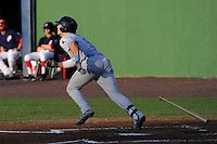 Left fielder Jake Skole (9) of the Myrtle Beach Pelicans bats in a game against the Potomac Nationals on Monday, June 24, 2013, at G. Richard Pfitzner Stadium in Woodbridge, Virginia. Skole was taken by the Texas Rangers in the first round of the 2010 First-Year Player Draft. Myrtle Beach won, 3-2. (Tom Priddy/Four Seam Images)