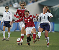 06 November,  2004.  Denmark's Catherine Sorensen (7) tries to keep the ball away from USWNT defender Christie Rampone (3) at  Lincoln Financial Field in Philadelphia, Pa.