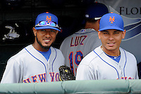 New York Mets second baseman Jordany Valdespin #1 and shortstop Ruben Tejada #11 before a Spring Training game against the Detroit Tigers at Joker Marchant Stadium on March 11, 2013 in Lakeland, Florida.  New York defeated Detroit 11-0.  (Mike Janes/Four Seam Images)