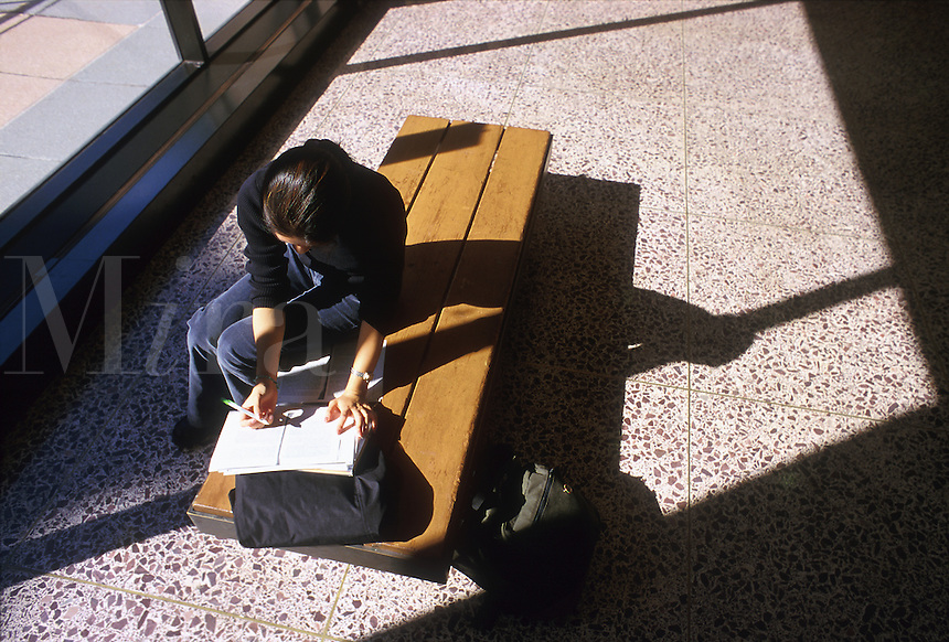 A female college student studies on a sunny bench. Wesleyan University.