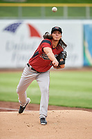 Sacramento River Cats starting pitcher Dereck Rodriguez (10) warms up in the bullpen before the game against the Salt Lake Bees at Smith's Ballpark on April 19, 2018 in Salt Lake City, Utah. Salt Lake defeated Sacramento 10-7. (Stephen Smith/Four Seam Images)