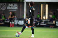LAKE BUENA VISTA, FL - JULY 31: Pedro Gallese #1 of Orlando City SC dribbles the ball during a game between Orlando City SC and Los Angeles FC at ESPN Wide World of Sports on July 31, 2020 in Lake Buena Vista, Florida.