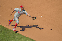 26 May 2013: Philadelphia Phillies infielder Freddy Galvis in action against the Washington Nationals at Nationals Park in Washington, DC. The Nationals defeated the Phillies 6-1, taking the rubber game of their 3-game weekend series. Mandatory Credit: Ed Wolfstein Photo *** RAW (NEF) Image File Available ***