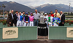 September 27 2014: Members of the Los Angeles Kings with jockeys and the Stanley Cup at Santa Anita Park in Arcadia CA. Alex Evers/ESW/CSM
