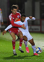 Blackpool's Keshi Anderson battles withAccrington Stanley's Tom Scully<br /> <br /> Photographer Dave Howarth/CameraSport<br /> <br /> EFL Trophy Northern Section Group G - Accrington Stanley v Blackpool - Tuesday 6th October 2020 - Crown Ground - Accrington<br />  <br /> World Copyright © 2020 CameraSport. All rights reserved. 43 Linden Ave. Countesthorpe. Leicester. England. LE8 5PG - Tel: +44 (0) 116 277 4147 - admin@camerasport.com - www.camerasport.com