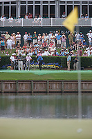 PONTE VEDRA BEACH, FL - MAY 6: Vijay Singh hits his tee shot to the signature island green of the par 3 17th hole during his practice round on Wednesday, May 6, 2009 for the Players Championship, beginning on Thursday, at TPC Sawgrass in Ponte Vedra Beach, Florida.
