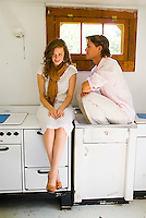 Young couple hanging out in kitchen