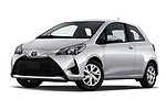 Stock pictures of low aggressive front three quarter view of 2018 Toyota Yaris Y-oung 3 Door Hatchback Low Aggressive