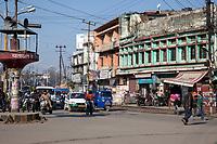 India, Dehradun.  Morning Traffic at an Intersection.