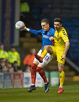 Fleetwood Town's Lewis Coyle (right) battles for possession with Portsmouth's Ronan Curtis (right) <br /> <br /> Photographer David Horton/CameraSport<br /> <br /> The EFL Sky Bet League One - Portsmouth v Fleetwood Town - Tuesday 10th March 2020 - Fratton Park - Portsmouth<br /> <br /> World Copyright © 2020 CameraSport. All rights reserved. 43 Linden Ave. Countesthorpe. Leicester. England. LE8 5PG - Tel: +44 (0) 116 277 4147 - admin@camerasport.com - www.camerasport.com