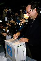 Montreal (QC)CANADA - September 25, 1989  File Photo<br /> Quebec Premier and<br /> Liberal Provincial Leader Robert Bourassa  cast his vote in Outremont , on election day