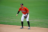 Bowie Baysox second baseman Jeff Kemp (4) during the first game of a doubleheader against the Akron RubberDucks on June 5, 2016 at Prince George's Stadium in Bowie, Maryland.  Bowie defeated Akron 6-0.  (Mike Janes/Four Seam Images)