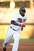 Minnesota Twins right fielder Miguel Sano (22) running the bases during a Spring Training game against the Boston Red Sox on March 16, 2016 at Hammond Stadium in Fort Myers, Florida.  Minnesota defeated Boston 9-4.  (Mike Janes/Four Seam Images)