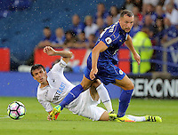 Pictured (L-R): Jack Cork of Swansea City against Danny Drinkwater of Leicester City Saturday 27 August 2016<br /> Re: Swansea City FC v Leicester City FC Premier League game at the King Power Stadium, Leicester, England, UK